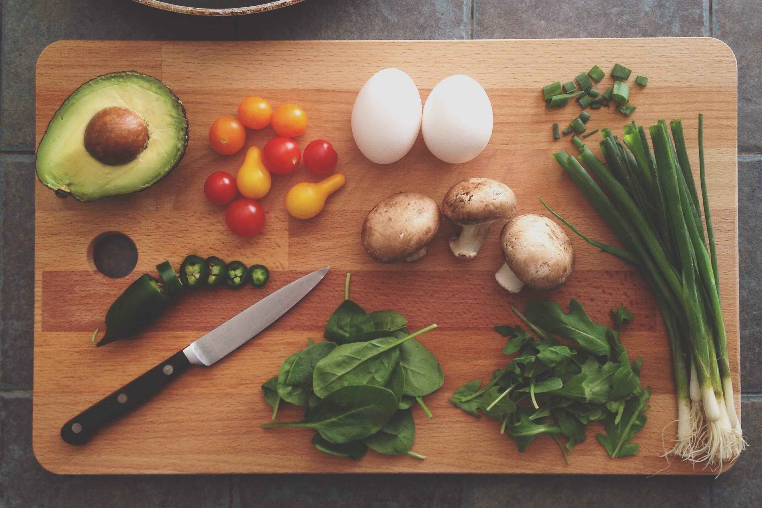 Food on chop board for Mexican Cookery Class